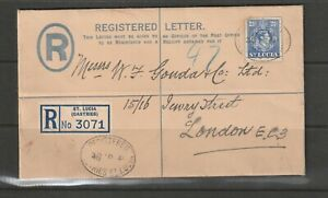 St Lucia 1941 GV1 3d Blue registered Envelope with 2 1/2d on front, to UK