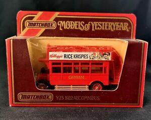 Matchbox Models of Yesteryear Y-23 1922 Aecomnibus Kellogg's Rice Krispies 1:72