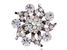 Austrian AB Crystal Rhinestone Floral Petals Clear Floral Flower Adjustable Ring