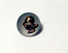 """VICTORIAN Antique Button w Tinted Cut Steel Realistic WOMAN""""S HEAD w HAT"""