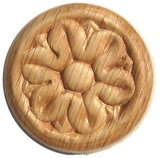 Embossed Oak Wood Overlay Rosette SIZE 1-1/4 INCH  PACK OF 4 PIECES