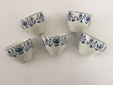 Lot of 5 Johnson Brothers Ashford Blue Windsor Ware Flowers - TEA CUPS