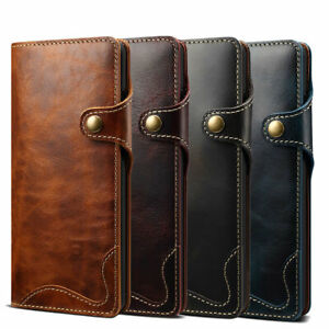 Genuine Leather Handy Card Wallet Phone Case For Samsung S21 iPhone 11 12 Pro XR