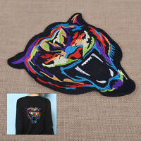 2pcs Large Tiger Head Embroidered Cloth Patch Sew Iron On Jacket Jeans Crafts