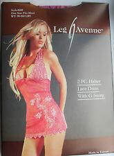 BEAUTIFUL PURPLE & PINK LACE CHEMISE MINI DRESS G-STRING 8 10 12 LEG AVENUE 8109