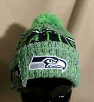 SEATTLE SEAHAWKS FOOTBALL KNIT HAT NFL NWT POM NEW ERA OFFICIAL BEANIE CAP