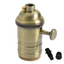 PORTALAMPADA vintage in ottone Lampada Holder Socket e27 con interruttore ON/OFF di splink LI