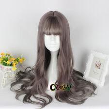 65CM Lolita Brown Long Cosplay Japan Heat Resistant Cute Party Wig Thin Bangs