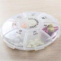 Compartment Tablet Medicine Dispenser 7 Box Organizer Round Holder