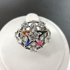 10k White Gold Ladies Masonic Eastern Star Multi Color Enamel Ring CZ Size 6
