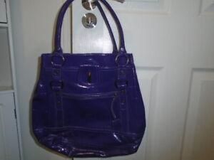 Shiny purple patent PU good sized tote bag, OASIS