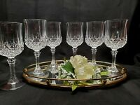 "Cristal D' Argues ""Longchamp"" Wine / Cordial Crystal Stemmed Glass (Set of 6)"
