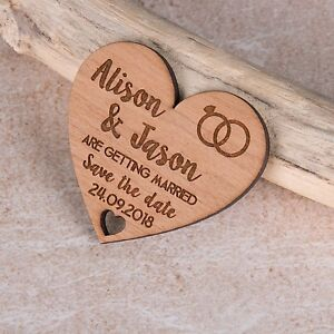 Personalised Rustic Cherry Wood Heart Save The Date Wedding Fridge Magnet Invite
