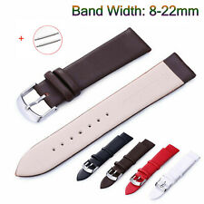 8-22mm Slim Leather Band Sweat-proof Watch Strap Bracelet Stainless Steel Clasp