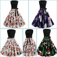 Party Womens Cocktail Dresses Floral Swing Sleeveless Winter Christmas Dress
