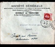"""VENDOME (41) BANQUE """"SOCIETE GENERALE"""" voyagée en 1944"""
