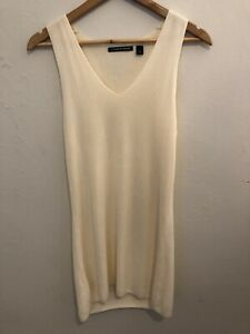 Country Road Small Cream Ribbed Fine Knit Tank Immaculate Condition