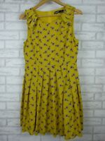 Dangerfield fit & flare dress yellow white red floral print sleeveless size 10