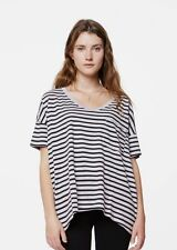 SKARGORN #61 Oversized Short Sleeves Stripe Cream/Blue Tee In Wash Size M Nwot