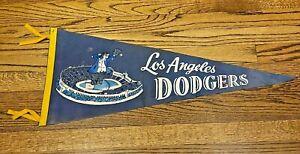 Spectacular Vintage 1959 Los Angeles LA Dodgers Da Bum Stadium Pennant w/ 4 Ties
