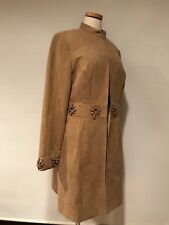 Sandra & Andre Faux Suede Camel Long Jacket Coat Western Style  Top Size L EUC