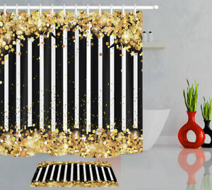 """Black and White Striped Gold Confetti Shower Curtain Liner Waterproof Fabric 72"""""""