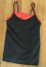 Gap Fit 2 In 1 Workout Top Orange Gray Heather Ladies M EUC