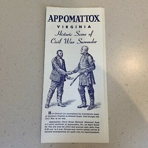 Appomattox Historical Park Civil War Surrender Brochure 1965 VA Grant Lee