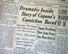 AL 'SCARFACE' CAPONE Chicago Beer Baron Gangster's Downfall Told 1932 Newspaper