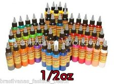 Eternal Tattoo Ink Original TOP 50 Colors in Full Silver Set of 1/2oz (15ml) USA