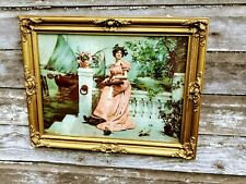 Antique Victorian Lithograph Lady with Harp Sailboat Harbor Gold Gesso Frame