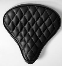 Custom Bates Style Leather Diamond Stitch Large Black Seat Harley Bobber Chopper