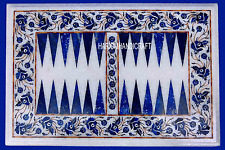 "12""x18"" Backgamman White Marble Coffee Table Rare Inlaid Lapis Arts Decor H3114"
