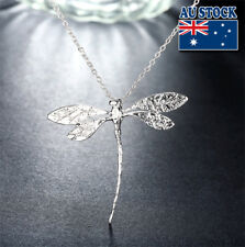 Wholesale 925Serling Sliver Filled Hollow Pastoralism Dragonfly Pendant Necklace