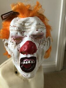 Horror Halloween Freaky  Screaming Blood Splattered Clown Latex Mask