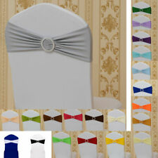 Spandex Stretch Chair Sash Wedding Party Cover Band Tie Decor Buckle Bow Slider