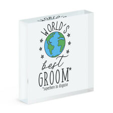 World's Best Groom Acrylic Photo Block Frame Funny Favourite Wedding Favour