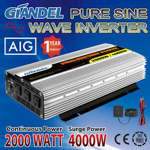 Pure Sine Wave Power Inverter 2000W/4000W 12V-240V USA Transistors Large shell