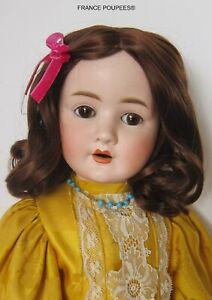 """perruque châtain Jumeau®T30/32cm12/13""""poupée ancienne/moderne-Wig head sz12/13"""""""