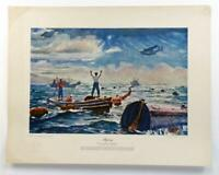 Vintage ALBERT K MURRAY Aligning Nautical Military Maritime Lithograph #Z222