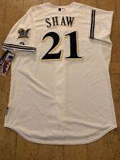 Majestic Athletic Authentic Travis Shaw Brewers Throwback Jersey 48 NWT