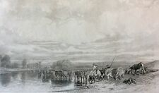 Un troupeau passant le gué d'après Jules Dupré gravé par Louis Marvy  Barbizon