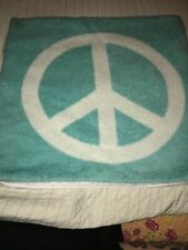 Pottery Barn Teen 2010 Peace Sign Faux Fur Double Sided Zippered Pillow Cover Aq