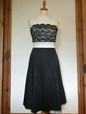Warehouse Spotlight Black & Cream Strapless Lace Party Evening Dress Size 10, 38