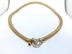 14k Yellow Gold Birdcage Diamond & Onyx Lock Necklace
