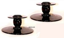 Tiffin  Lariette Black Glass Candlesticks Candle Holders