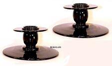Tiffin  Lariette Black Glass Candlesticks Candle Holders