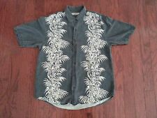 Tommy Bahama Floral Design 100% Silk Gray Grey Button Up Shirt M Hawaiian