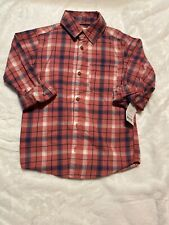 Boys Carters Pink Plaid Button Down Shirt Size 5 Nwt