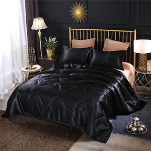 NTBED Luxury Silky Satin Comforter Set Queen Black, Soft Lightweight Microfiber